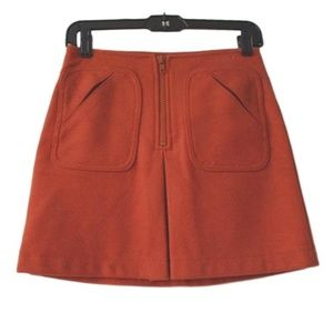 Gap Orange Mod A-line Wool Pockets Skirt 8 Large